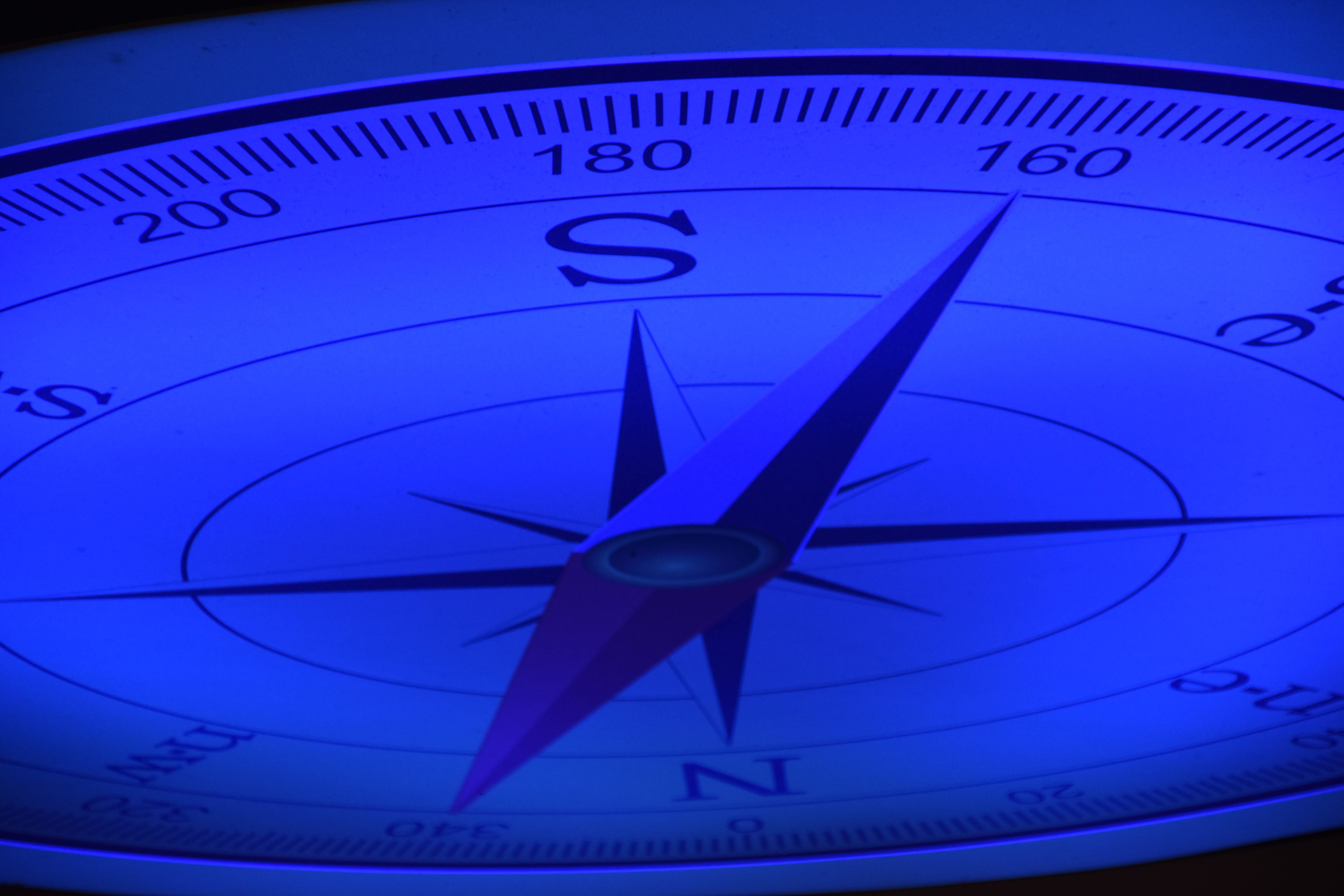 Closeup of a blue compass.