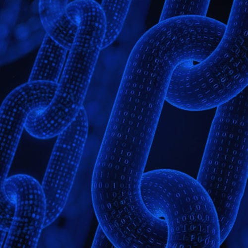Chain links on blue background
