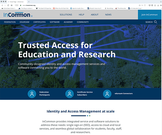 screenshot of the new InCommon.org website