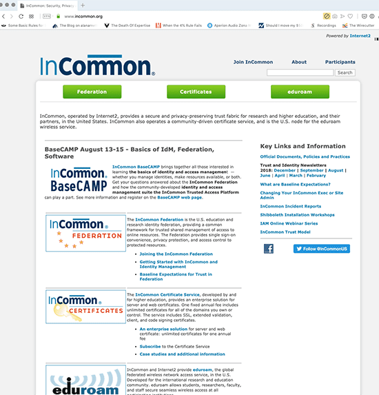 screenshot of old InCommon.org website