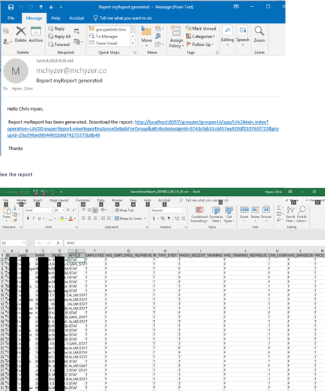 Examples of an email window and a spreadsheeet.